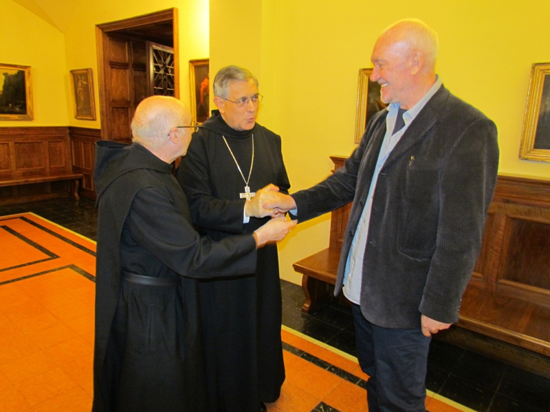 The Abbot welcomes Sean Scully at Montserrat (June 2014).